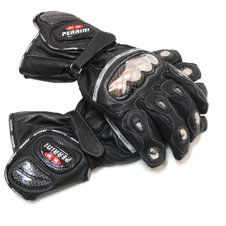 Cruiser Bike Gloves (Perrini  Metal/ Leather Motorcycle Riding Gloves)