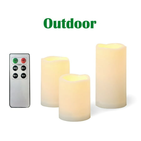 Candle Choice 3 Piece Outdoor Flameless Candles with Remote Timer Plastic Realistic Flickering Battery Operated LED Pillar Melted Edge Party Wedding Birthday Home Holiday Décor Gifts 3 Pack ()