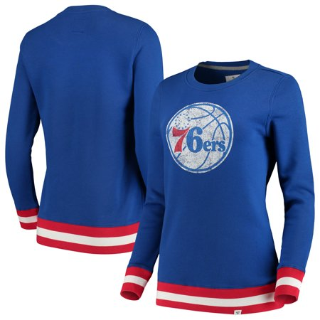 Philadelphia 76ers Fanatics Branded Women's True Classic Vintage Retro Stripe Fleece Crew Sweatshirt - Royal Women Classic Fleece