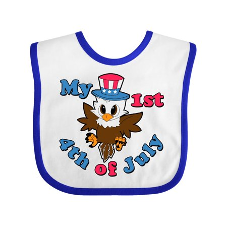 1st Birthday Hat And Bib (My 1st 4th of July with Baby Eagle wearing Patriotic Hat Baby Bib White/Royal One)