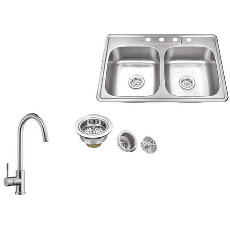 Magnus Sinks 33-in x 22-in 20 Gauge Stainless Steel Double Bowl Kitchen Sink with Gooseneck Kitchen Faucet (Sink Bowl With Faucet)