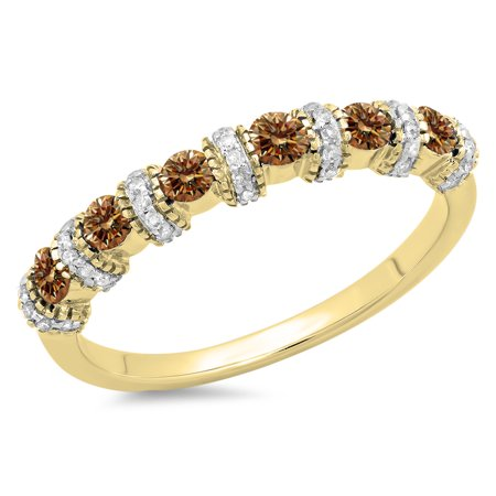 0.55 Carat (ctw) 18K Yellow Gold Round Champagne & White Diamond Ladies Bridal Stackable Wedding Band Anniversary Ring (Champagne Diamond Anniversary Ring)