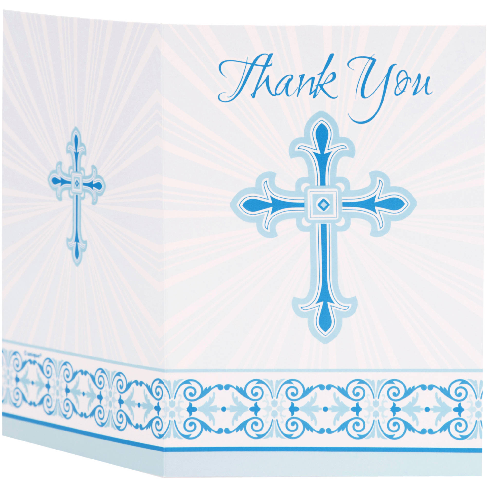 Radiant Cross Religious Thank You Notes, 5.5 x 4 in, Blue, 8ct