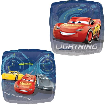 Anagram Cars 3 Lightning McQueen, Cruz, and Jackson Storm Double-Sided Square Foil Balloon, 17 inches, 1 count - Lightning Mcqueen Birthday Decorations
