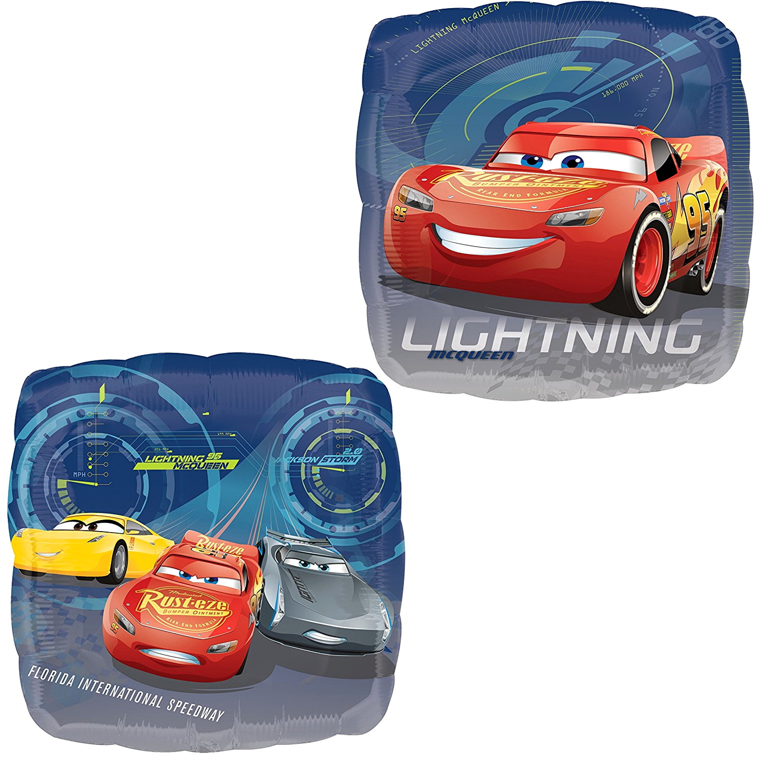 Anagram Cars 3 Lightning McQueen, Cruz, and Jackson Storm Double-Sided Square Foil Balloon, 17 inches, 1 count