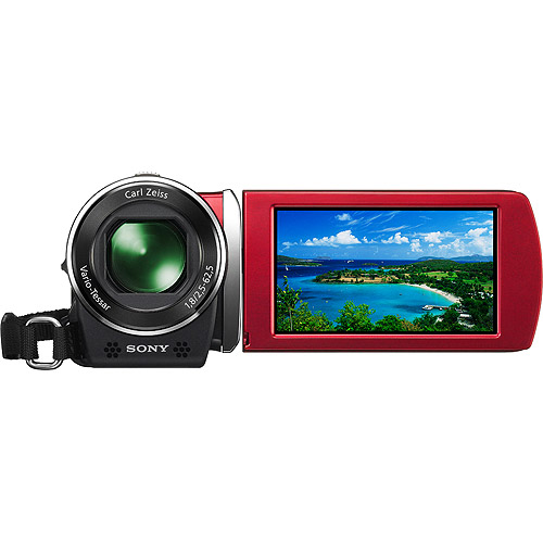 Sony Handycam HDR-CX150 - Camcorder - 1080i - 4.2 MP - 25x optical zoom - Carl Zeiss - flash 16 GB - flash card - red