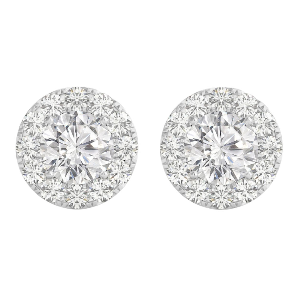 Cubic Zirconia Halo Studs Earrings in 14K White Gold - image 2 de 2