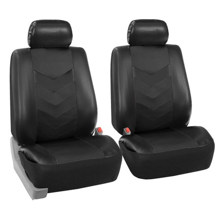 FH Group Synthetic Leather Auto Seat Covers for Sedan, SUV, Van, Truck, Two Front Buckets, Black