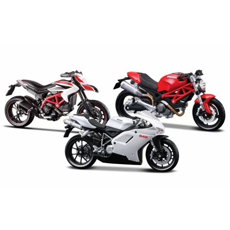 Ducati Motorcycle Racing Bundle: Monster, Hypermotard, 848 - 1/18 Scale Diecast (Ducati Monster Racing)