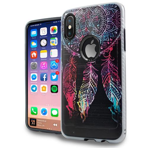 Mundaze Apple iPhone X Colorful Dreamcatcher Brushed Armor Anti-Shock Phone Case