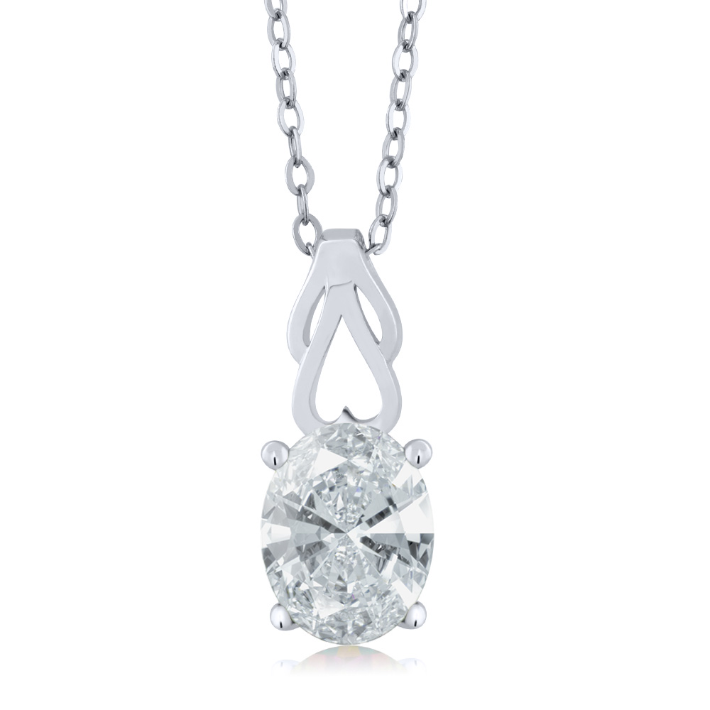 1.91 Ct Oval White Created Moissanite 18K White Gold Pendant With Chain