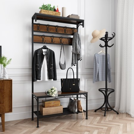 Rackaphile 3-in-1 Hall Tree Coat Rack Bench for Entryway Rustic in Black/Brown with 5 Hooks and Top Storage/Display Shelf ()