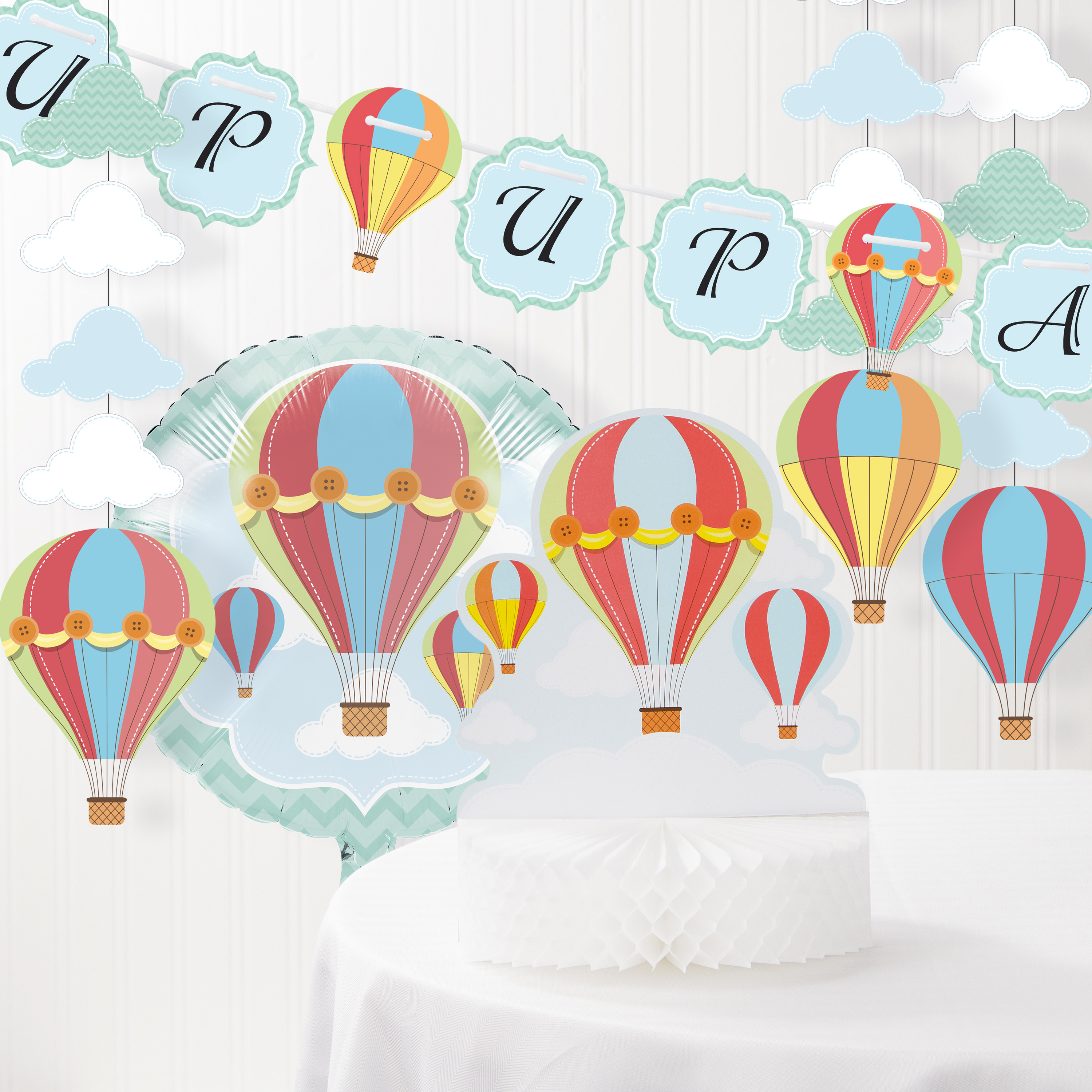 Up, Up, And Away Hot Air Balloon Baby Shower Decorations Kit