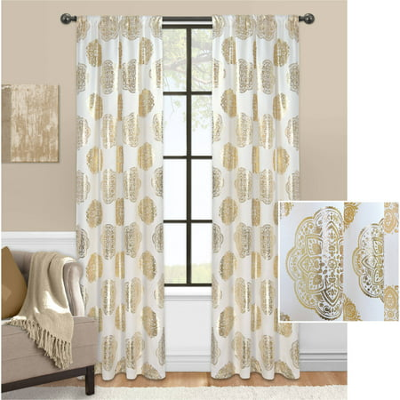 Mainstays Medallion Metallic Foil Window Curtain Panel](Gold Metallic Fringe Curtain)