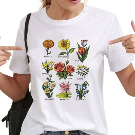Fancyleo New 90S Vintage Women Floral PrintT Shirt Casual Short Sleeve Sunshine Plant T Shirt Summer Wildflower Graphic Tee Tops