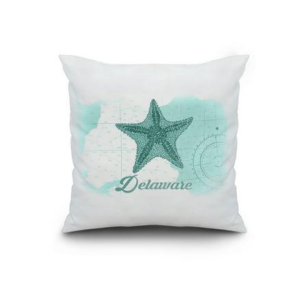 Delaware Starfish Teal Coastal Icon Lantern Press Artwork 20x20 Spun P