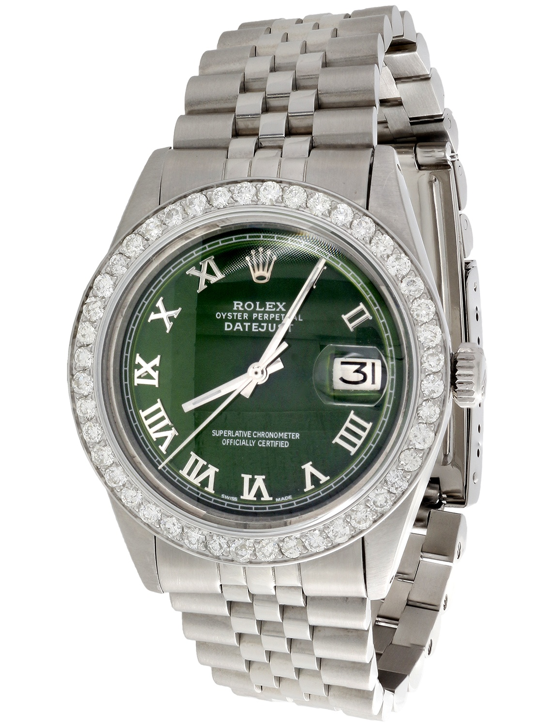 Mens Rolex 36mm DateJust Diamond Jubilee Watch Roman Numeral Green Dial 1.90 CT.