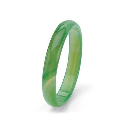 Genuine Green Agate Bangle Bracelet 8.5