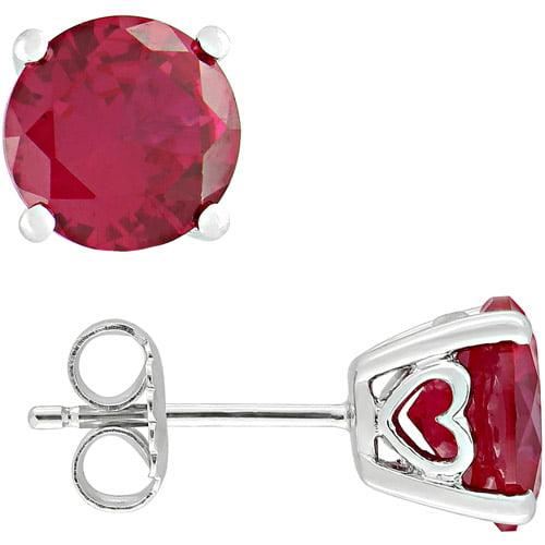 4-4/5 Carat T.G.W. Round-Cut Ruby Sterling Silver Earrings