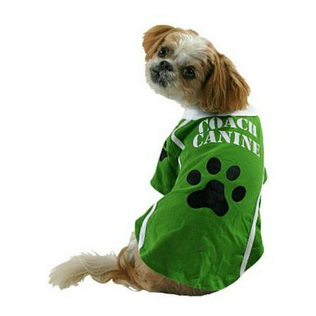 Coach Canine Dog Costume Green Football Pet Tee Halloween T-Shirt