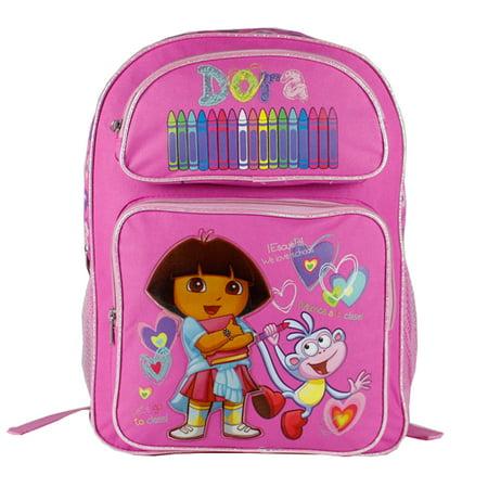 Backpack - Dora the Explorer - Pink Crayon w/Boots (Large Bag) New 40999pk