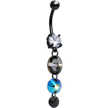 Body Candy Handcrafted Black Anodized Cascading Crystals Belly Ring Created With Swarovski Crystals