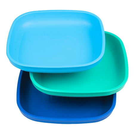 - Re-Play Made in USA 3pk Deep Walled Plates for Baby, Toddler, Children - Sky Blue, Aqua, Navy (True Blue) Durable, Dependable and Tough Toddler Plates!