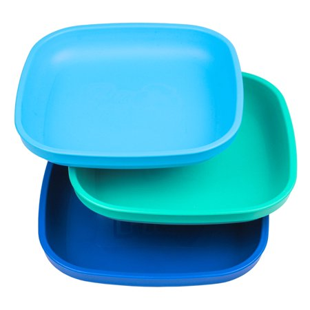 Re-Play Made in USA 3pk Deep Walled Plates for Baby, Toddler, Children - Sky Blue, Aqua, Navy (True Blue) Durable, Dependable and Tough Toddler Plates! Arthur Baby Plate