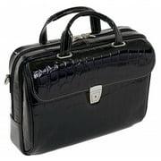 Siamod Ignoto Leather Large Ladies Laptop Briefcase - Black