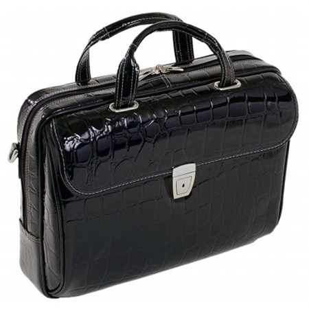 Ignoto Black Leather Large Ladies Laptop Brief