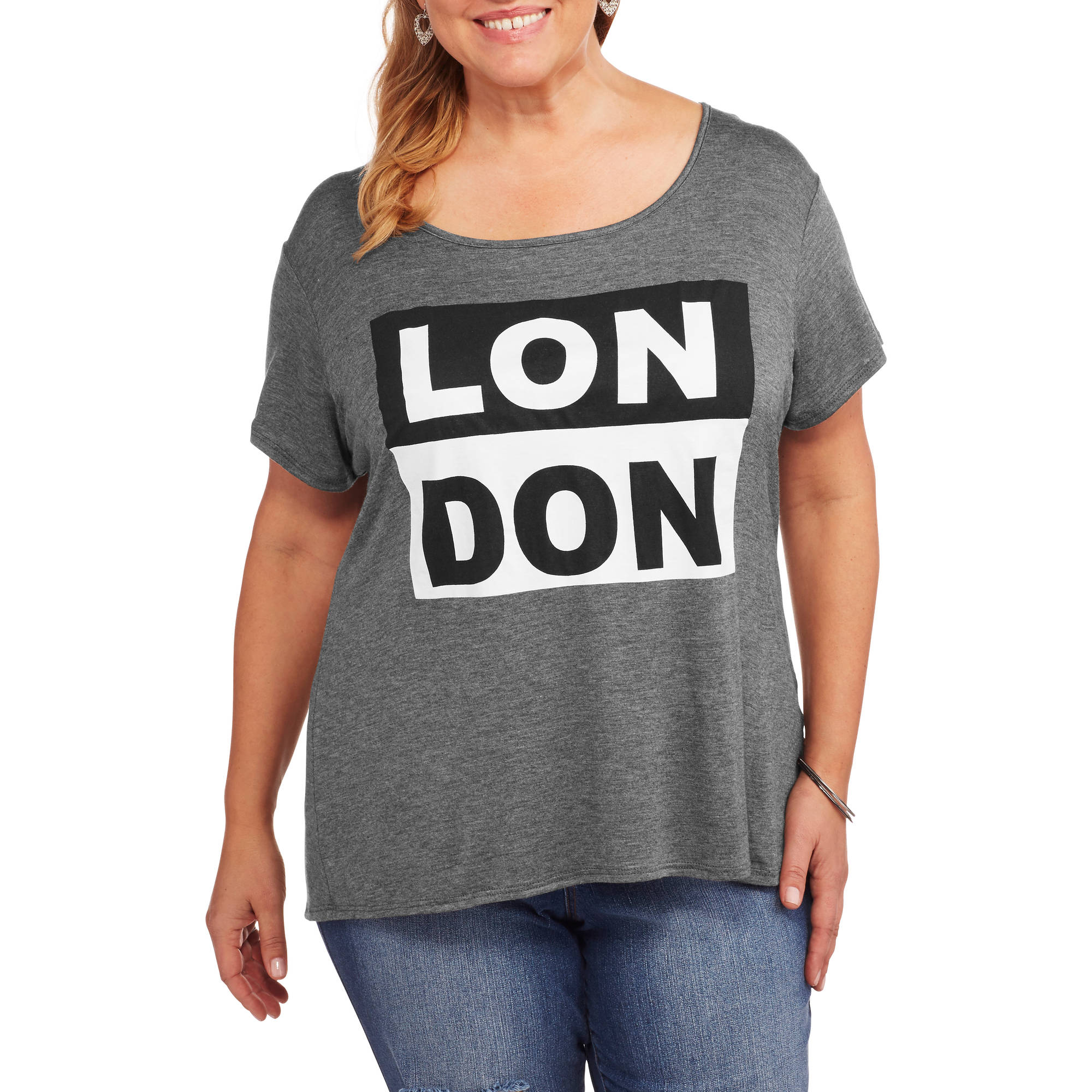 Women's Plus 'London' Relaxed Fit Crew Neck Graphic T-Shirt