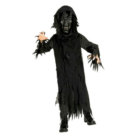 Boys Skeleton Lord Child Halloween Costume Hooded Robe & Mask - Skeleton Boy Costume