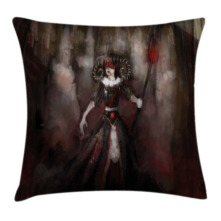 Gothic Throw Pillow Cushion Cover, Medieval Evil Woman Horns Mask Witch Myth Fantasy Old Fashion Scary Watercolor, Decorative Square Accent Pillow Case, 16 X 16 Inches, Black Red Grey, by Ambesonne