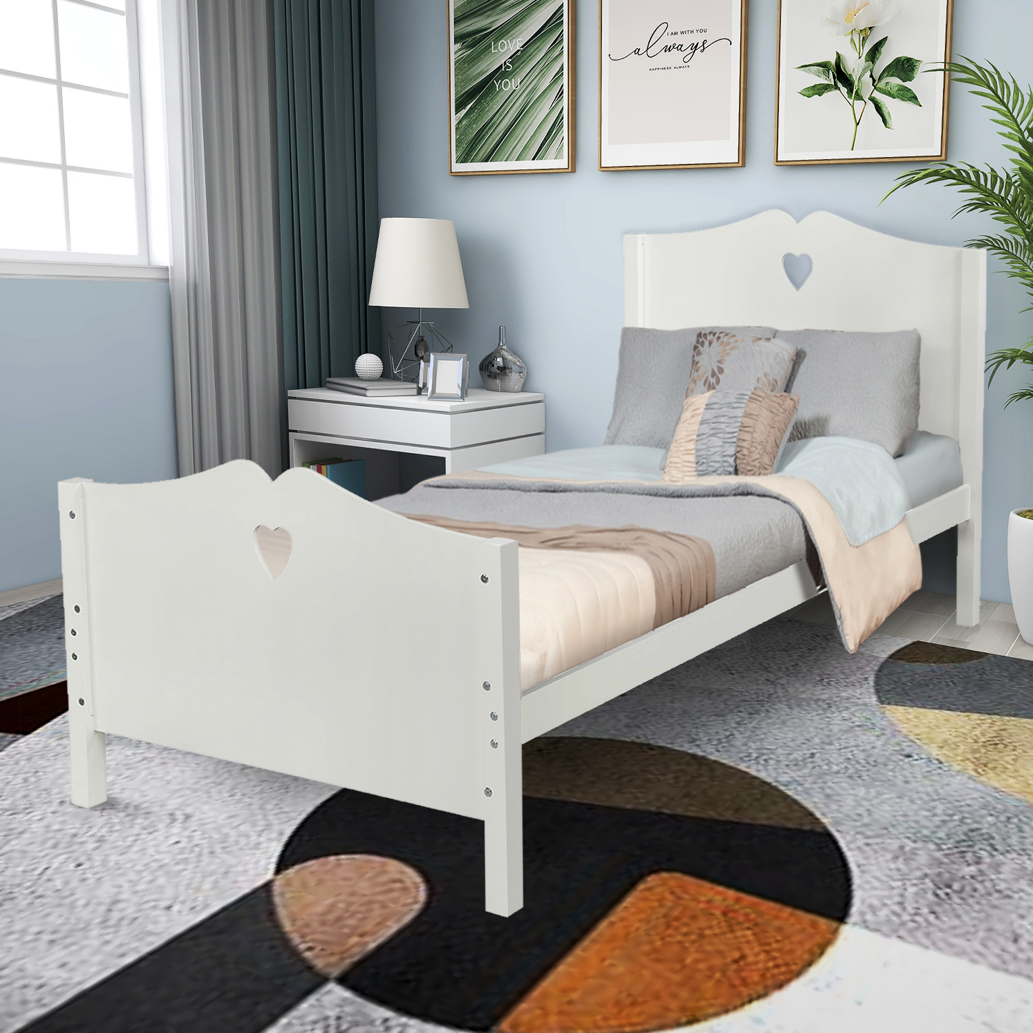 Children S Room Bed Frame Platform Bed Frame For Guest Bedroom Twin Bed Frame With Headboard And Footboard Modern Simple Twin Bed Frame With Wooden Slat Support No Box Spring Needed White Y2077