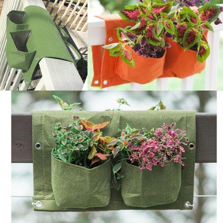BloemBagz Deck Rail 4-Pocket Hanging Planter Bag Living Green ()
