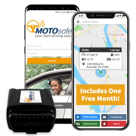 MOTOsafety GPS Car Tracking Locator for Real-Time Teen Driving Coach with Month of Service, OBD Version, No