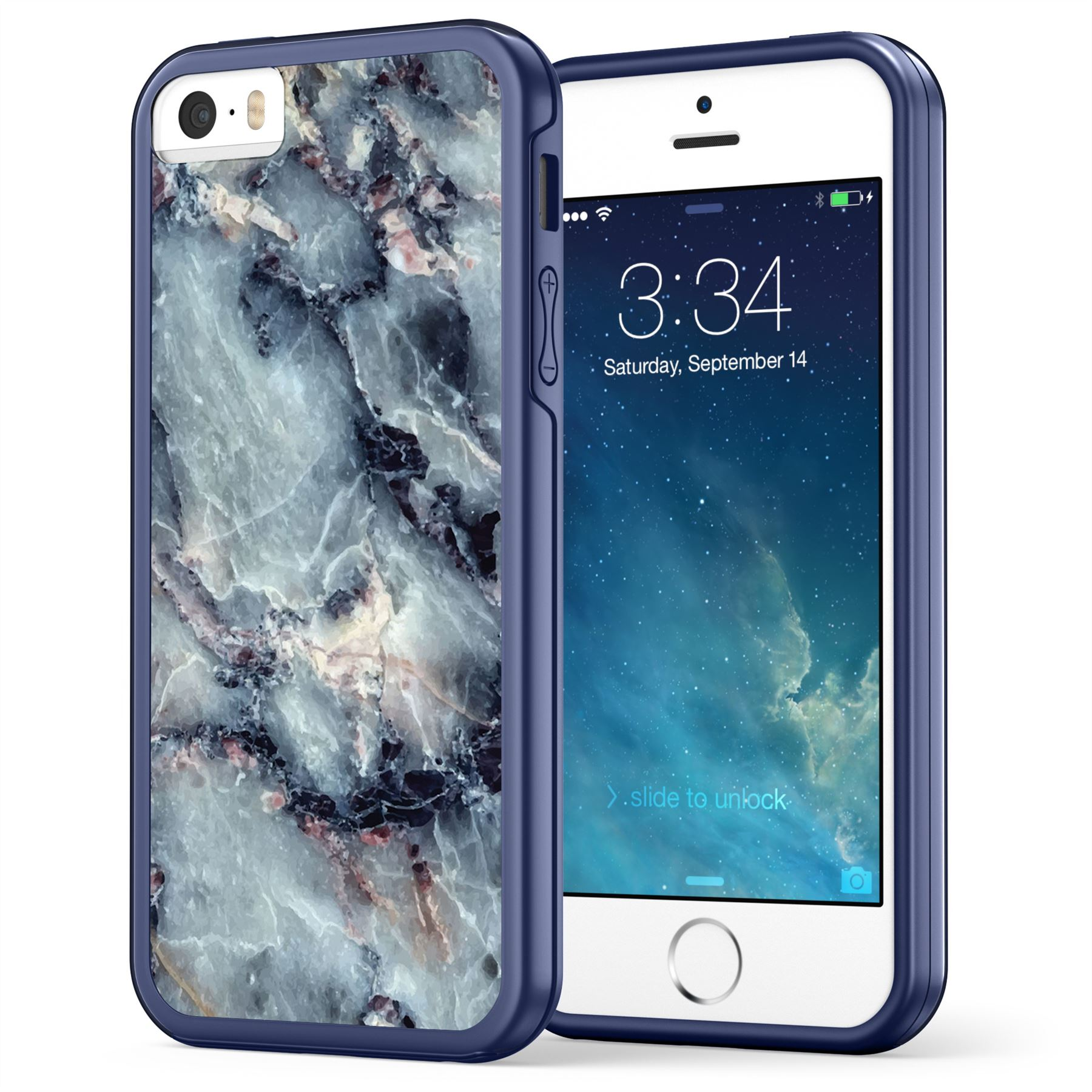 iPhone SE / 5S / 5 Case, True Color® Grayish Blue Marble [Stone Texture Collection] Slim Hybrid Hard Back + Soft TPU Bumper Protective Durable [True Impact Series] Apple iPhone 5 / 5S