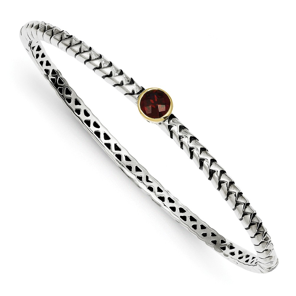 925 Silver & 14K Yellow Gold Garnet Bezel Wheat Link Bangle Bracelet by
