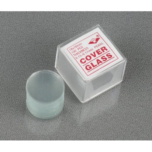 AmScope 100pc Pre-Cleaned 18mm Diameter Round Microscope Glass Cover Slides Coverslips by United Scope