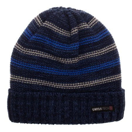 Swiss Tech Youth Navy Striped Cuffed Beanie with Thinsulate M-80 Lining for Added