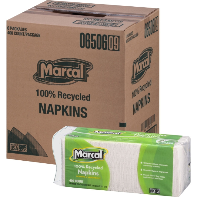 "Marcal Small Steps Recycled Luncheon Napkin - 1 Ply - 12.50"" x 11.25"" - White - Paper - Soft - For Food Service, Office"