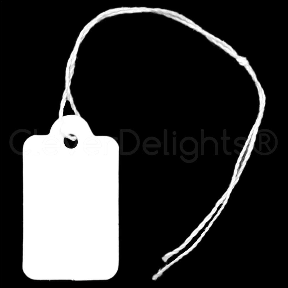 "500 Pack - CleverDelights Mini Price Tags - 3/4"" x 1/2"" - White Jewelry Tags"