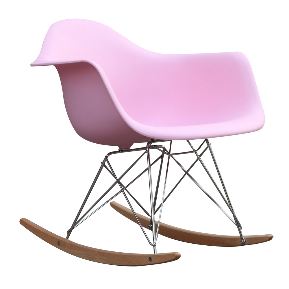 Fine Mod Imports Rocker Arm Chair-Color:Pink,Style:Contemporary/Modern