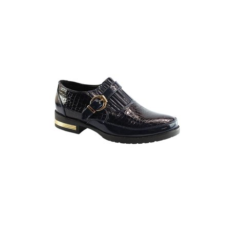 - Liyu Adult Blue Snake Skin Pattern Buckled Strap Oxford Shoes