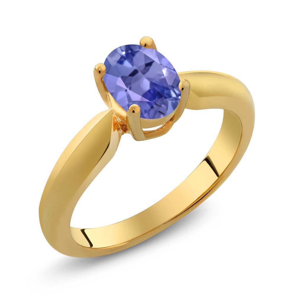 0.75 Ct Oval Blue Tanzanite Yellow Gold Plated Sterling Silver Ring