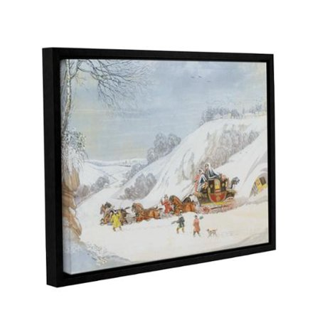James Pollards A Mail In Deep Snow  Engraved By George Hunt Gallery Wrapped Floater Framed Canvas 14X18