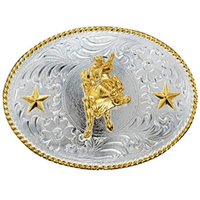 M&F Western Products 3757041 Mens Oval Rope Edge Bull Riding Stars Buckle - Shiny Silver & Shiny Gold - image 1 de 1