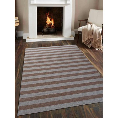 Rugsotic Carpets Hand Woven Flat Weave Woolen Contemporary Area Rug D00107-Color:Cream Light Brown,Material:Kilim,Shape:Rectangle,Size:8' x 10'
