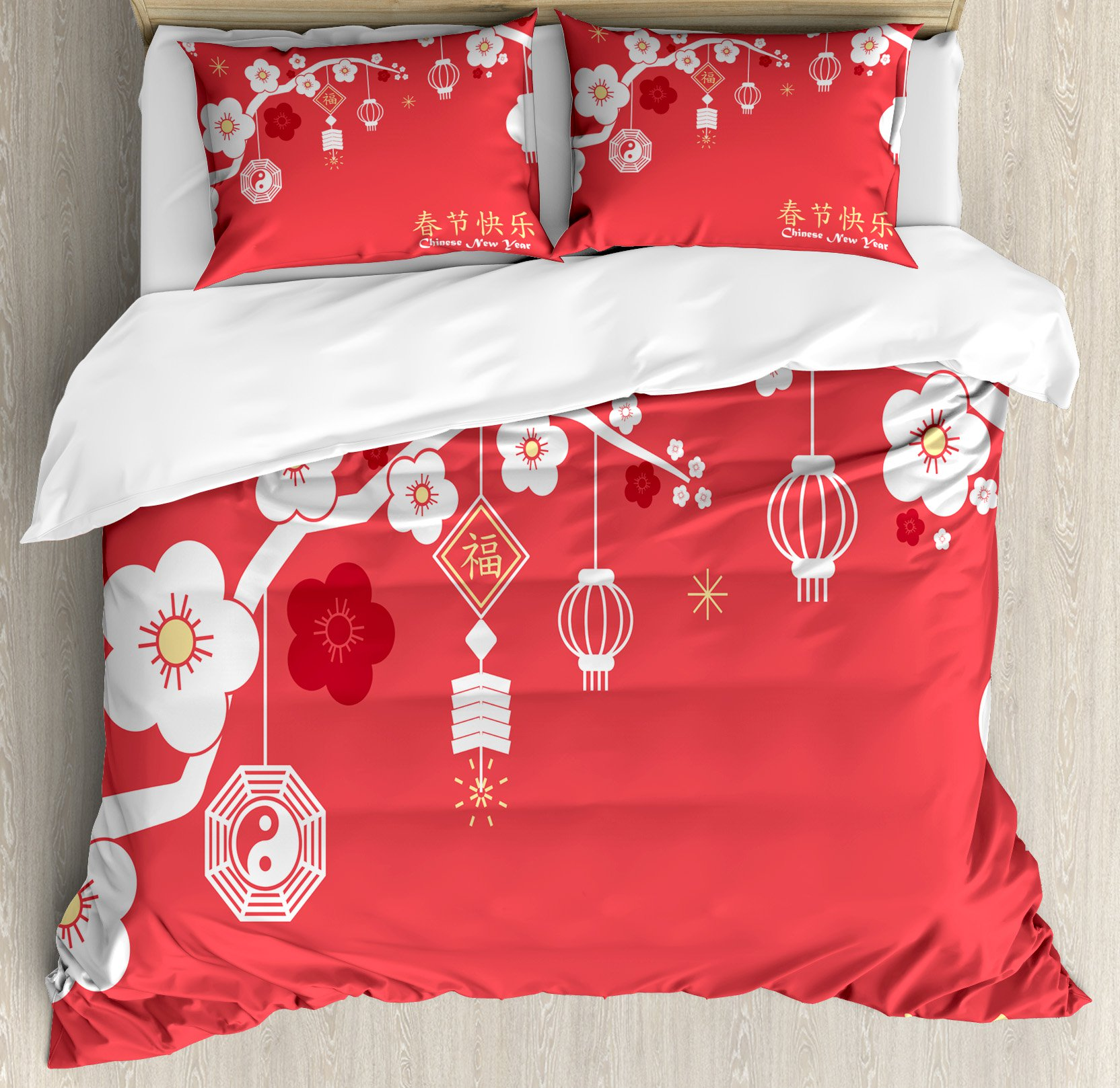 Marvelous Chinese New Year King Size Duvet Cover Set, Various Lanterns Hanging From  Blossoming Sakura Branches