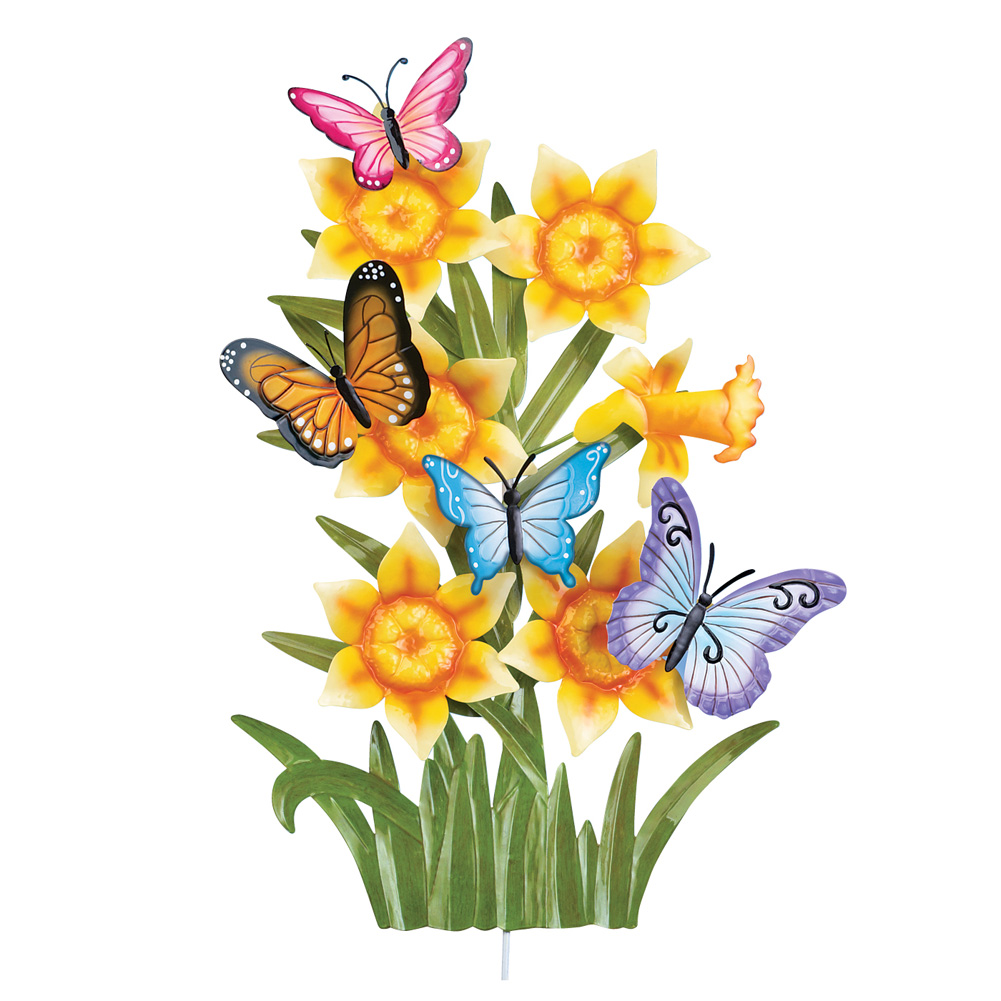 Daffodil & Butterflies Decorative Metal Outdoor Spring Decoration Yard Stake